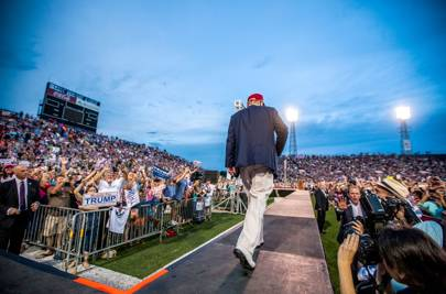 August 2015: Trump pulls in huge crowd at rally in Mobile, Alabama