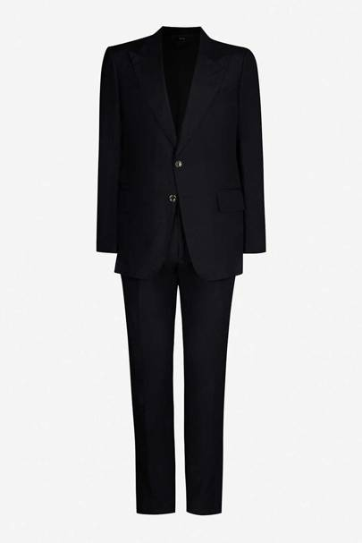 Single-breasted Shelton-fit silk and linen-blend suit by Tom Ford