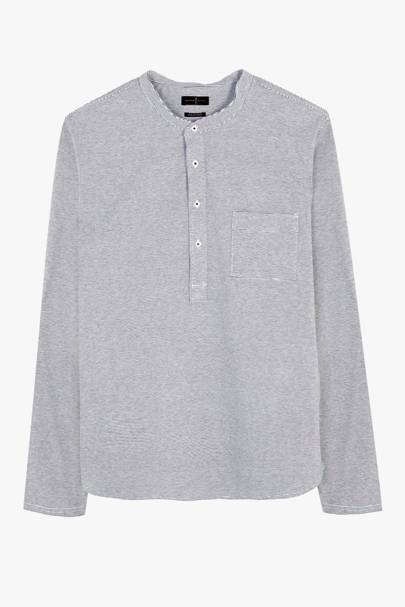 Massimo Dutti 'Soft'button-neck shirt