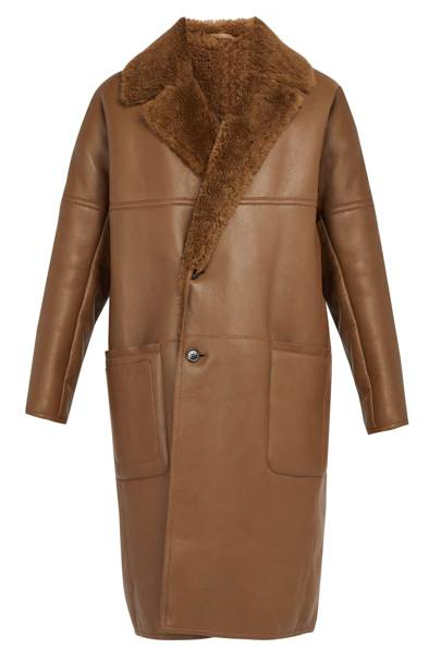 Shearling-lined leather coat by Berluti