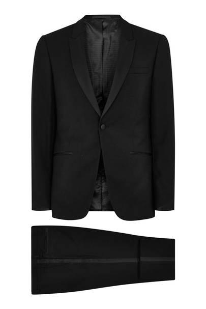 Black skinny satin side-stripe tuxedo by Topman