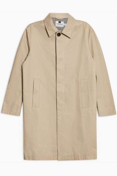 Topman Stone Single-Breasted Trench Coat