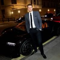 Jake Humphrey in front of the Bugatti Chiron