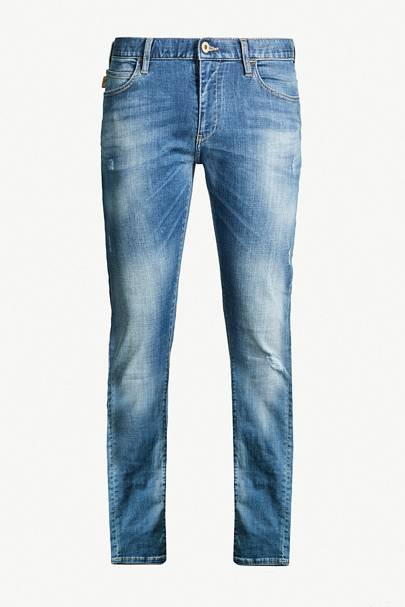 Faded wash slim-fit, straight-leg jeans by Emporio Armani