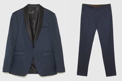 Blue tuxedo with shawl collar by Zara