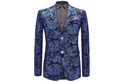 Classic Blue Paisley Blazer by Pilaeo