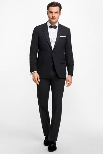 Black peak lapel tuxedo by Brooks Brothers