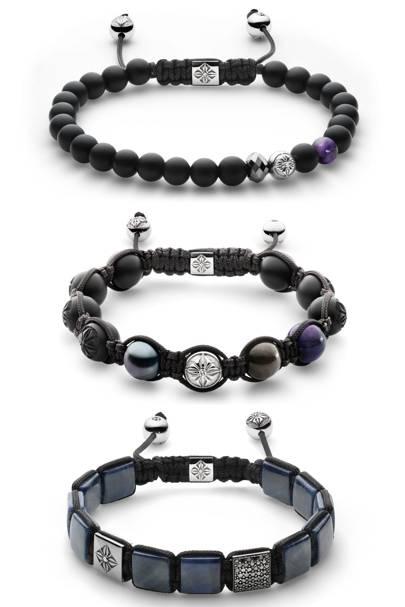 From top: Bracelet, £4,575. Bracelet, £2,865. Bracelet, £9,945. All by Shamballa. shamballajewels.com