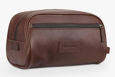 Barbour Dark Brown Leather Wash Bag