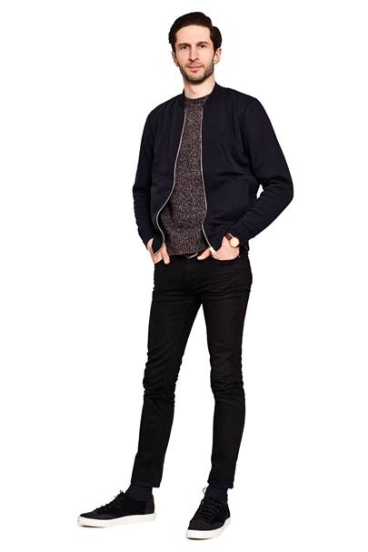 Bomber jacket by Sunspel, £140. Jumper by Creep, £220. Trainers by Thorocraft, £160.