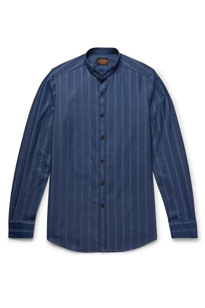 Grandad-collar striped cotton-chambray shirt by Tod's
