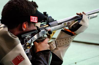 Jon Hammond of Scotland competing in the 50m prone Rifle Mens Pairs event in which he won a gold medal at Dr Karni Singh Shooting Range during day nine of the Delhi 2010 Commonwealth Games.