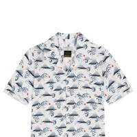Percival 'Fuji Hokusai' Cuban collar shirt