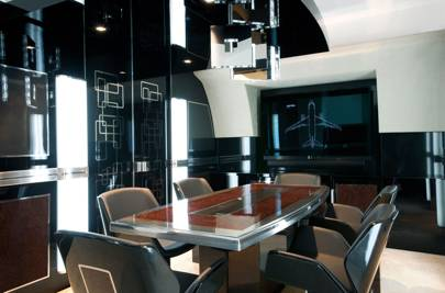The dining room inside the Airbus A319 mock-up