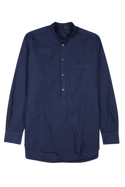 Navy grandad-collar cotton shirt by Barena
