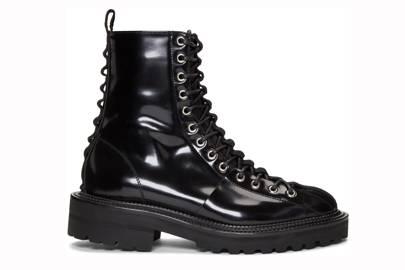 Black lace-up boots by Yang Li
