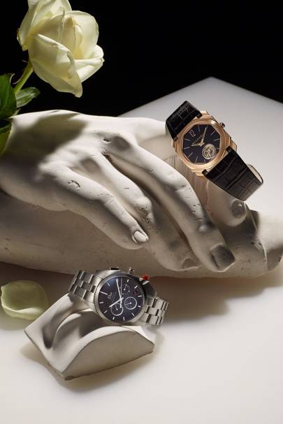 From left: Dior Chiffre Rouge, Bulgari Octo Tourbillon