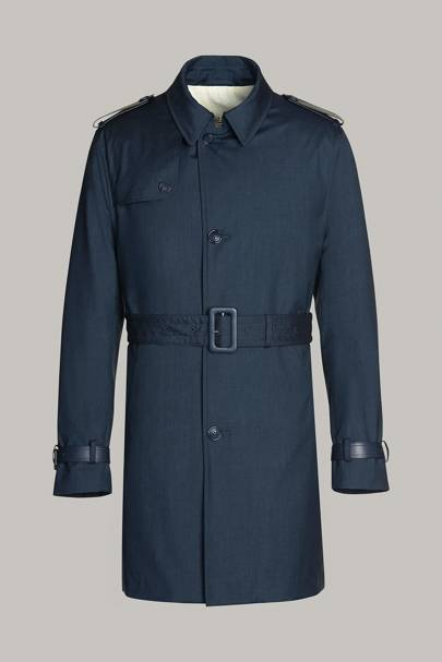 Lined technical pure silk trench coat