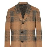 Slim-fit checked linen and camel hair-blend coat by Eidos