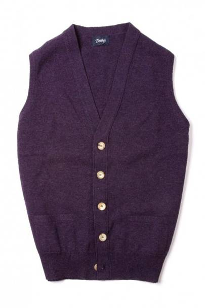 Drake's purple lambswool knit cardigan