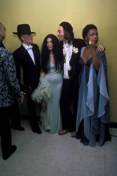 1975: David Bowie, Yoko Ono, John Lennon, and Roberta Flack