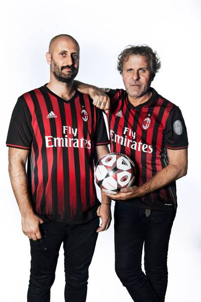 Andrea Rosso and his father Renzo Rosso in their AC Milan kits.