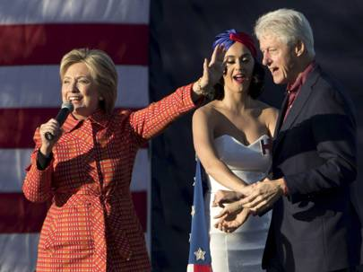 Joined by husband President Bill Clinton and singer Katy Perry, Hillary Clinton holds a campaign rally in Des Moines, Iowa, 24 October 2015