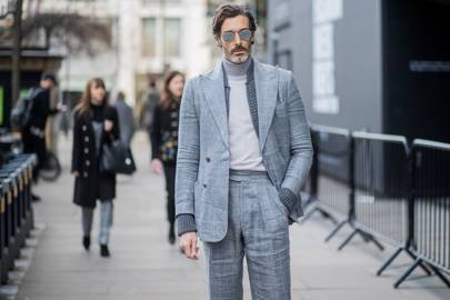 If you're going to wear a suit, just make sure it's grey (and oversized)
