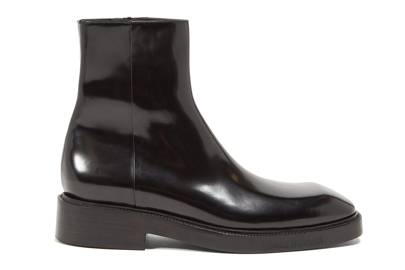 Square toe leather boots by Balenciaga