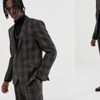 Slim Suit Jacket in Brown Harris Tweed by Heart & Dagger