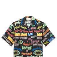 2.) Gucci camp-collar printed silk shirt