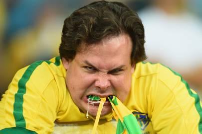An emotional Brazil fan, 2014