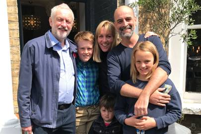 Matt Kelly, his family and Jeremy Corbyn