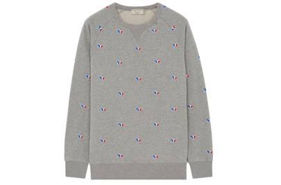 Maison Kitsune tricolor embroidered fox sweatshirt