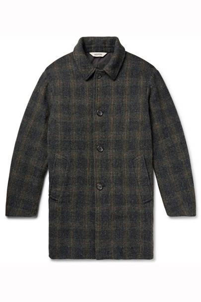 Checked Harris Tweed Coat by Aspesi