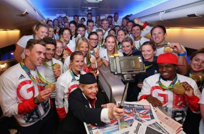 Team GB fly back from Rio on British Airways flight