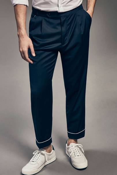 Massimo Dutti Limited Edition piped wool trousers