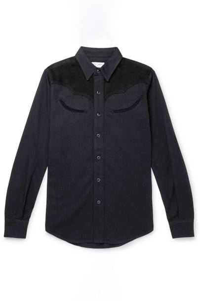 Slim-Fit Suede-Trimmed Denim Shirt by Saint Laurent