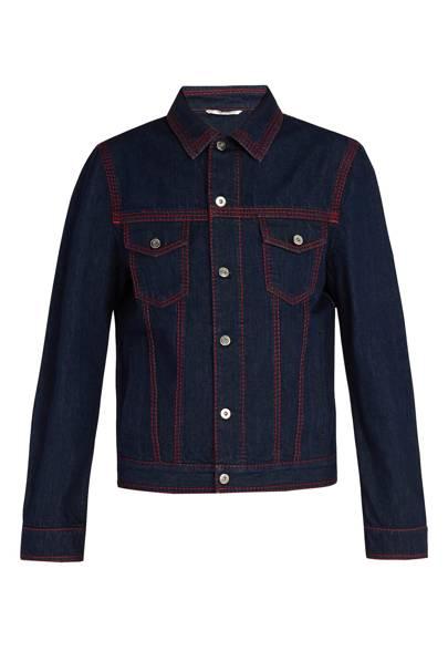 Contrast topstitched denim jacket by Valentino