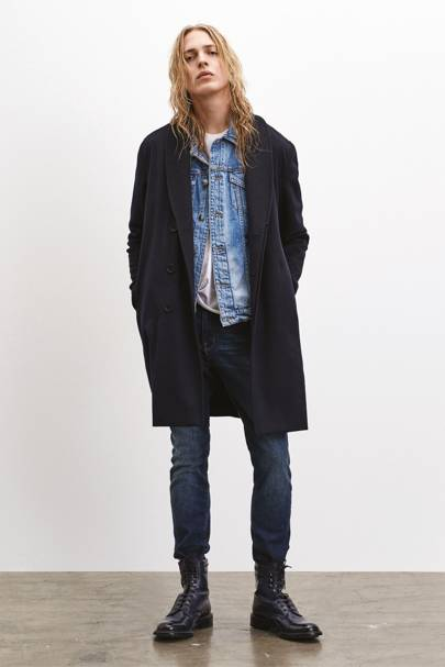Coat, £1,020. Jacket, £349. T-shirt, £79. Jeans, £209. All by Frame. frame-store.com