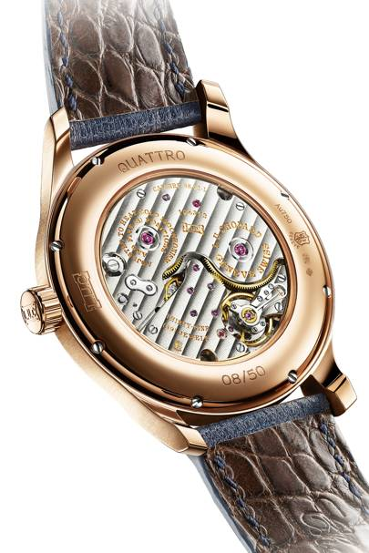 Chopard Quattro L.U.C features a sneaky chocolate crocodile interior strap