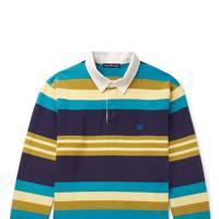 Twill-trimmed striped cotton-jersey polo shirt by Acne Studios