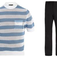 Knitted t shirt and trousers by Prada