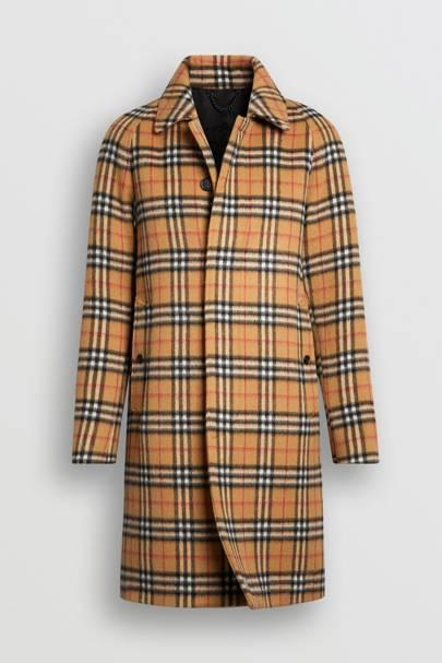Vintage check alpaca wool car coat by Burberry