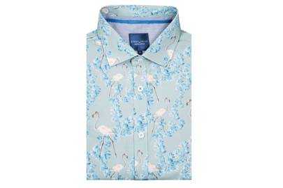 Limited Edition Oriental Floral & Flamingo Print Short Sleeve Shirt by Steel & Jelly