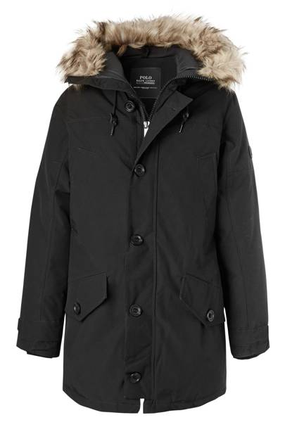 Faux fur-trimmed twill parka by Ralph Lauren