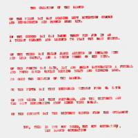 Our first Damned press release, typed on to transparent plastic, 1976