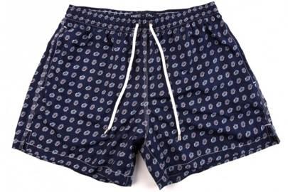 Fedeli for Drake's navy etching swim shorts
