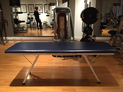 I've spent most of my first month lying on this bench, with Roberta investigating the strength of my leg, ankle and arm joints, trying to increase the strength of under-utilised supporting muscles.