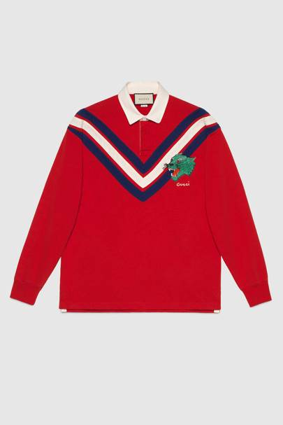 Chevron polo with panther face by Gucci